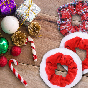 12 Pcs Premium Large Size Holiday Hair Scrunchies,Cute Christmas Seasons Scrunchies With Gift Bag, Great Fun and Festive for, Party,Dinner,photos booth.