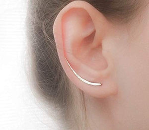 MoonliDesigns Ear Climber Earrings Long Sterling Silver Climbers Crawler Bar Studs silver yellow rose pink gold