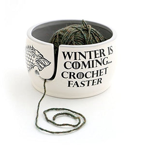 Lennymud Game of Thrones CROCHET Yarn Bowl - Winter is Coming Grey Inside White, Grey