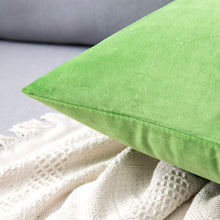 Load image into Gallery viewer, MIULEE Pack of 2 Velvet Pillow Covers Decorative Square Pillowcase Soft Solid Cushion Case for Sofa Bedroom Car 12 x 12 Inch Apple Green