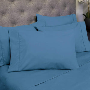 King Size Bed Sheets - 6 Piece 1500 Thread Count Fine Brushed Microfiber Deep Pocket King Sheet Set Bedding - 2 Extra Pillow Cases, Great Value, King, Denim