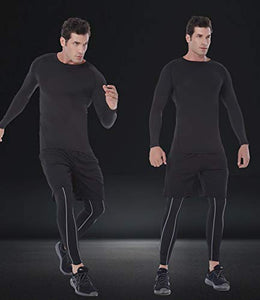 SILKWORLD Men's Long-Sleeve Compression Shirt Base-Layer Running Top, 3 Pack: Black#3, XL SWJ0730-Z-B#3XL X-Large Crewneck_3 Pack: Black#3
