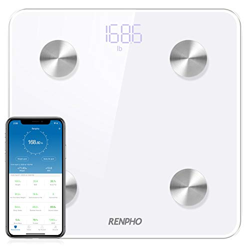 RENPHO Body Fat Scale Smart Digital Bluetooth Bathroom Weight BMI Scale Body Composition Monitor Analyzer with Smartphone App 396 lbs White ES-CS20M-W 11 x 11 Inch