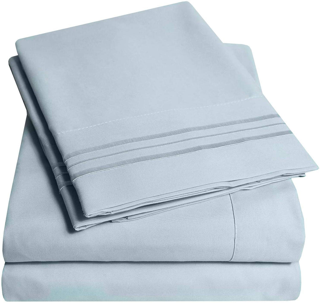 1500 Supreme Collection Extra Soft California King Sheets Set, Misty Blue - Luxury Bed Sheets Set With Deep Pocket Wrinkle Free Hypoallergenic Bedding, Over 40 Colors, California King Size, Misty Blue