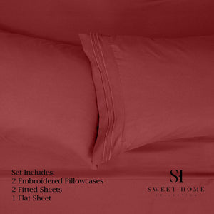 1500 Supreme Collection Extra Soft Split King Sheets Set, Burgundy - Luxury Bed Sheets Set with Deep Pocket Wrinkle Free Hypoallergenic Bedding, Over 40 Colors, Split King Size, Burgundy