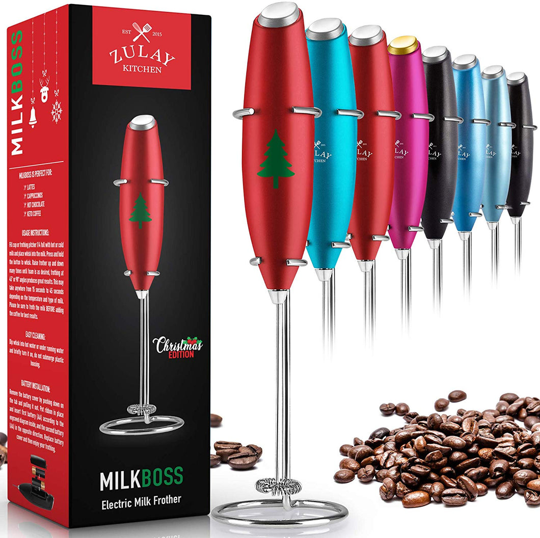 Zulay High Powered Milk Frother Handheld Foam Maker for Lattes - Whisk Drink Mixer for Bulletproof® Coffee, Mini Foamer for Cappuccino, Frappe, Matcha, Hot Chocolate by Milk Boss - Christmas Edition