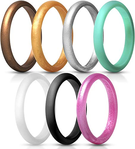 Breathable Rubber Wedding Bands Thin Silicone Ring for Crossfit Workout 8.7 mm Wide-6Pack Camo,Blue,Green,Black Leimaq Silicone Wedding Ring for Men