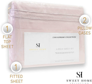 1500 Supreme Collection Extra Soft California King Sheets Set, Pale Pink - Luxury Bed Sheets Set with Deep Pocket Wrinkle Free Hypoallergenic Bedding, Over 40 Colors, California King Size, Pale Pink