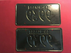 "RARE ""NEW"" 1963 Massachusetts Embossed License Plate Set Low Digit  #9939"