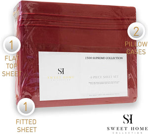 1500 Supreme Collection Bed Sheets Set - Luxury Hotel Style 4 Piece Extra Soft Sheet Set - Deep Pocket Wrinkle Free Hypoallergenic Bedding - Over 40+ Colors - California King, Red