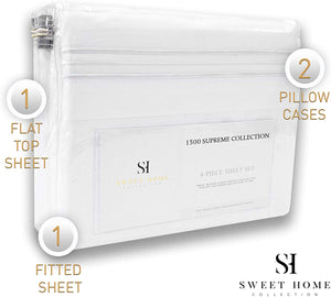 1500 Supreme Collection Extra Soft King Sheets Set, White - Luxury Bed Sheets Set With Deep Pocket Wrinkle Free Hypoallergenic Bedding, Over 40 Colors, King Size, White
