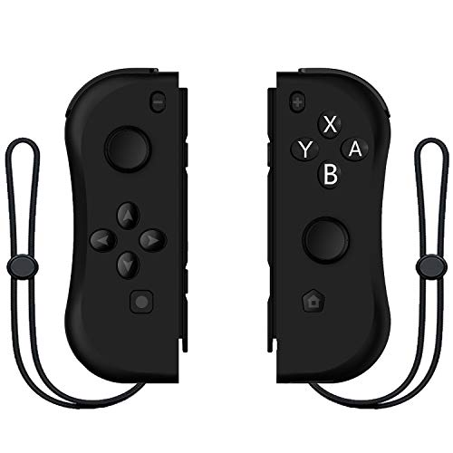 Kinvoca Joy Pad Controller for Nintendo Switch, L/R Switch Controller Replacement, Wired/Wireless Switch Remotes - Full Black JC-06FB