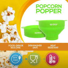 Load image into Gallery viewer, The Original Hotpop Microwave Popcorn Popper, Silicone Popcorn Maker, Collapsible Bowl Bpa Free and Dishwasher Safe- 12 Colors Available (Green)