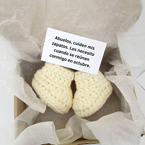 HomeToysByGalatova Abuelos Baby Pregnancy announcement for grandparents Baby booties Spanish Español Pregnancy cream, white