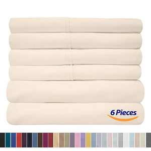 Sweet Home Collection Quality Deep Pocket Bed Sheet Set - 2 EXTRA PILLOW CASES, VALUE, Queen, Ivory, 6 Piece