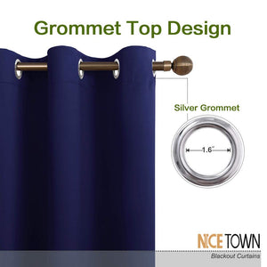 NICETOWN Blackout Draperies Curtains, All Season Thermal Insulated Solid Grommet Top Blackout Curtains/Drapes for Kid's Room (Navy Blue, 1 Pair, 34 x 45 inches)