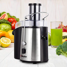 "Load image into Gallery viewer, Mueller Austria Juicer Ultra 1100W Power, Easy Clean Extractor Press Centrifugal Juicing Machine, Wide 3"" Feed Chute for Whole Fruit Vegetable, Anti-drip, High Quality, BPA-Free, Large, Silver"