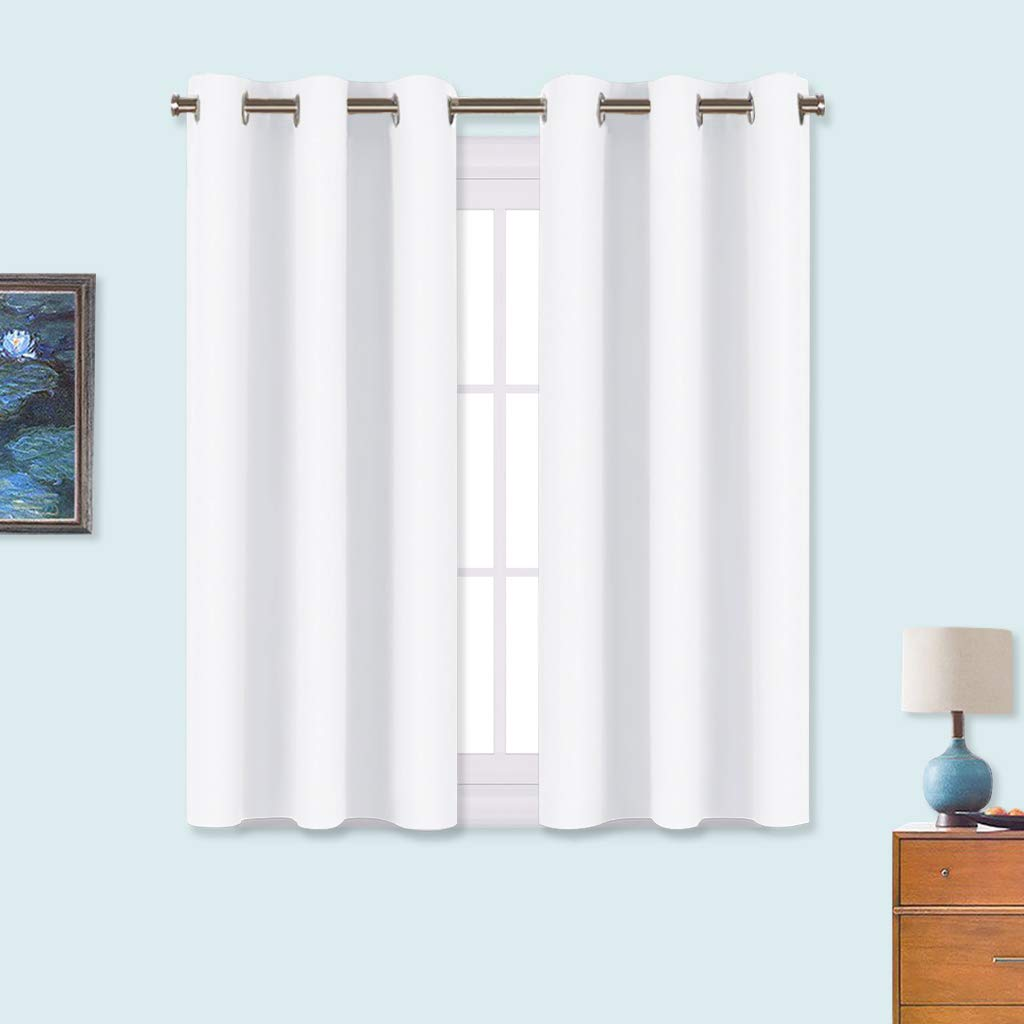 NICETOWN Draperies Curtains Panels, Blocking Out 50% Sunlight Window Treatment Curtains, Grommet Top Small Window Drapes for Bedroom (2 Panels, 34 by 45, White)