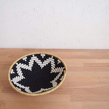 Load image into Gallery viewer, Amsha African Basket- Chwele/Rwanda Basket/Woven Bowl/Sisal & Sweetgrass Basket/Black, White, Tan Large