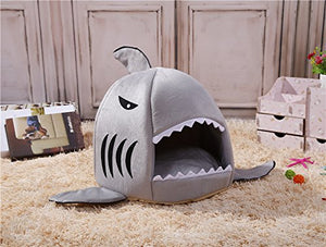 M&G House Cat Bed Cave, Grey Shark Pet House with Removable Bed Cushion Mat for Large Cat Dog Cave Bed,Waterproof Bottom Most Lovely Pet House Gift M FBA_MG10788 Shark-Grey