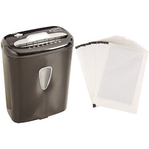Basics 6-Sheet High-Security Micro-Cut Paper Shredder and Shredder Sharpening & Lubricant Sheets (Pack of 12) Bundle