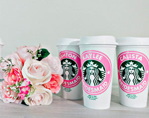 Personalized Reusable Starbucks Coffee Cup 16 Ounces with Lid - Variety of Colors Available - Ships Free - BPA Free Plastic