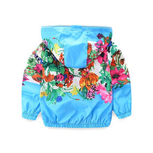 Load image into Gallery viewer, Mud Kingdom Little Girl Hooded Jackets Floral Size 5 Blue Z-S0433-Blue-130