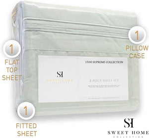 1500 Thread Count 3pc Bed Sheet Set Egyptian Quality Deep Pocket - All Size, 12 Colors - Twin, Mint