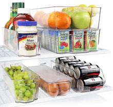 Load image into Gallery viewer, Greenco GRC0250 Fridge Bins, Stackable Storage Organizer Containers with Handles for Refrigerator, Freezer, Pantry and Kitchen Cabinets, BPA, Standard, Clear