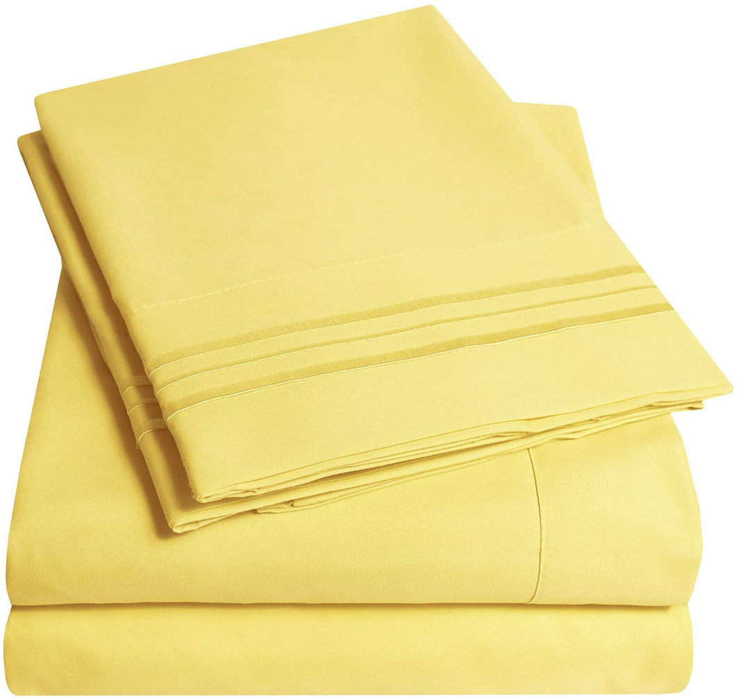 1500 Supreme Collection Extra Soft Twin XL Sheets Set, Yellow - Luxury Bed Sheets Set with Deep Pocket Wrinkle Free Hypoallergenic Bedding, Over 40 Colors, Twin XL Size, Yellow