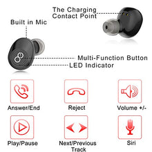 Load image into Gallery viewer, VEATOOL 5.0 Bluetooth Headphones  Binaural Call True Wireless Earbuds 20H Playtime HD Stereo Bass Sound Mini in Ear Bluetooth Earphones with Built in Mic and Charging Case for Sports Running J29 Black