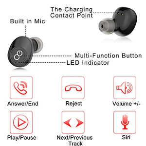 VEATOOL 5.0 Bluetooth Headphones  Binaural Call True Wireless Earbuds 20H Playtime HD Stereo Bass Sound Mini in Ear Bluetooth Earphones with Built in Mic and Charging Case for Sports Running J29 Black