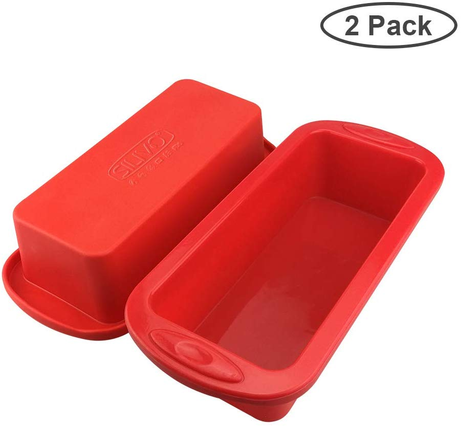 Silicone Bread and Loaf Pans - Set of 2 - SILIVO Non-Stick Silicone Baking Mold for Homemade Cakes, Breads, Meatloaf and Quiche - 8.9