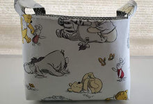 Load image into Gallery viewer, FreeFromWork Fabric Organizer Basket Bin Caddy Storage Container - Winnie the Pooh Eeyore Piglet on White Small gray white