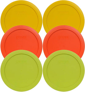 Pyrex 7201-PC Round 4 Cup Storage Container Lids for Glass Bowls (2-Butter Yellow, 2-Pumpkin Orange, 2-Edamame Green)