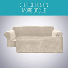 Load image into Gallery viewer, MOYMO 2-Piece Stretch Velvet XL Sofa Slipcover, High Stretch Couch Covers for 3 Cushion Couch, Slipcovers for Sofas, Couch Covers for Sofa, Living Room, Dogs, Sofa/Couch Cover(Sofa:Beige) X-Large
