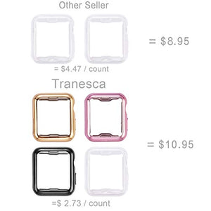 Tranesca 4 Pack Apple Watch case with Built-in HD Clear Ultra-Thin TPU Screen Protector Cover for Apple Watch Series 2 and Apple Watch Series 3 38mm - 4 Pack (Clear+Black+Gold+Rose Gold) 38 mm