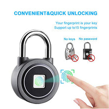 Load image into Gallery viewer, Fingerprint Padlock, Bluetooth Lock, APP, IP65 Waterproof, MEGAFEIS Smart Padlock with Keyless Biometric Suitable for Gym, Sports, Bike, School, Cabinet, Garage and Storage FB50 Grey