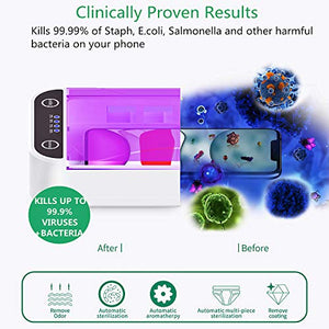 SHINEVI UV Cell Phone Sanitizer Portable UV Lights Smart Phone Sanitizer Sterilizer Cleaner Aromatherapy Function Disinfector for All iPhone Android Cellphone Toothbrush