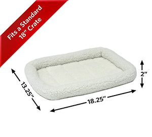 "MidWest Homes for Pets 18L-Inch White Fleece Dog Bed or Cat Bed w/ Comfortable Bolster | Ideal for ""Toy"" Dog Breeds & Fits an 18-Inch Dog Crate 
