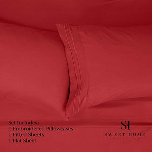 1500 Supreme Collection Extra Soft Twin XL Sheets Set, Red - Luxury Bed Sheets Set with Deep Pocket Wrinkle Free Hypoallergenic Bedding, Over 40 Colors, Twin XL Size, Red