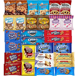 Blunon Cookies Variety Pack Assortment Sampler Individually Wrapped Cookies Bulk Care Package (30 Count)