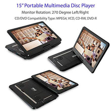 "Load image into Gallery viewer, Pyle 17.9"" Portable DVD Player, With 15.6 Inch Swivel Adjustable Display Screen, USB/SD Card Memory Readers, Long Lasting Built-in Rechargeable Battery, Stereo Sound  with Remote. (PDV156BK) 15"" Black"