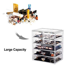 Load image into Gallery viewer, Urmoms Makeup Organizer Acrylic Cosmetic with 7 Storage Drawers and Jewelry Display Box One-piece