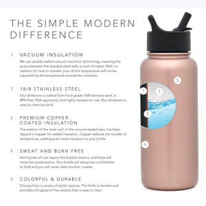 Simple Modern 40 oz Summit Kids Water Bottle with Straw Lid - Hydro Vacuum Insulated Tumbler Flask Double Wall Liter - 18/8 Stainless Steel -Rose Gold
