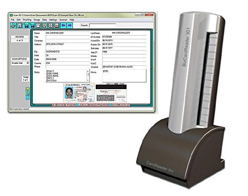 BizCardReader Medical Insurance Card and ID Card Scanner (w/Scan-ID LITE, for Windows) SLA1 Silver