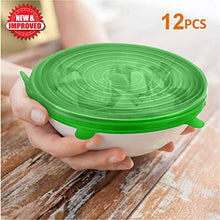 "Load image into Gallery viewer, fabquality Silicone Stretch Lids 12pcs XXL, Metal Drinking Straw + 2 Gift bags, Various Sizes and Shape of Containers, Reusable, Durable + Expandable Food Covers, Keeping Food Fresh, Dishwasher 8541995344 (2.8"", 3.7"",4.5"", 5.7"",6.5"" and 8.3"") Red, Green, Blue, Yellow, Purple, White"