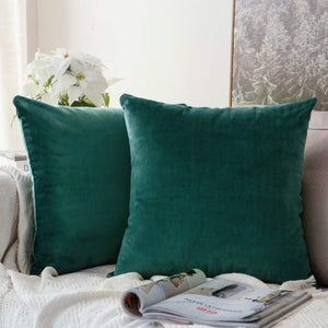 MIULEE Pack of 2 Velvet Soft Soild Decorative Square Throw Pillow Covers Cushion Case for Sofa Bedroom Car 16 x 16 Inch 40 x 40 cm Teal