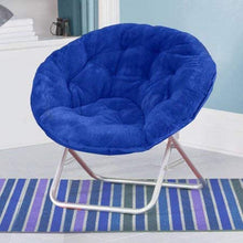 Load image into Gallery viewer, Urban Shop Faux Fur Saucer Chair with Metal Frame, One Size, Teal Vase (Royal Blue)