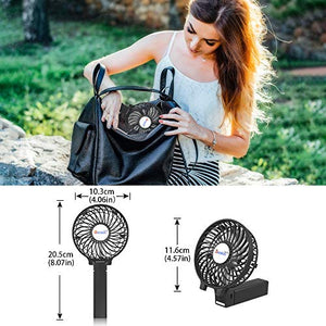 "VersionTECH. Mini Handheld Fan, USB Desk Fan, Small Personal Portable Table Fan with USB Rechargeable Battery Operated Cooling Folding Electric Fan for Travel Office Room Household Black HandFan 4.5""x 2.8""x 4.1"""
